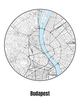 Map of Budapest Poster Mural XXL