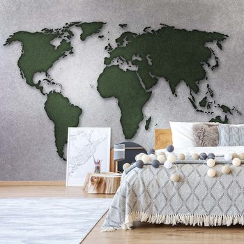 Modern World Map Silver Poster Mural XXL
