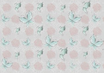 Motif Papillons et Roses Poster Mural XXL