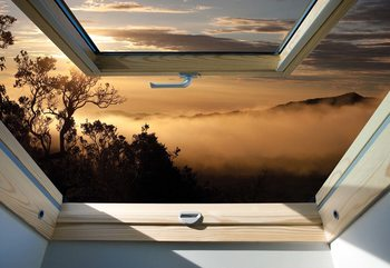 Mountain Skylight Window View Poster Mural XXL