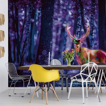 Mystical Stag In Forest At Night Poster Mural XXL
