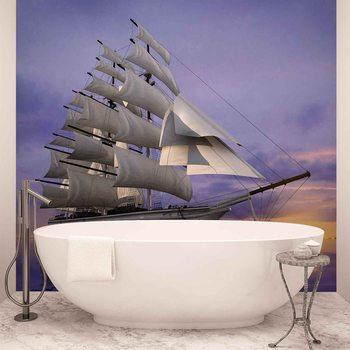 Navire à voile Coucher de soleil Poster Mural XXL