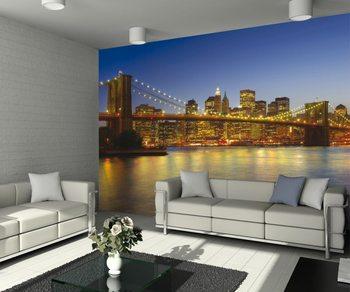 New York - Brooklyn Bridge à la tombée de la nuit Poster Mural XXL