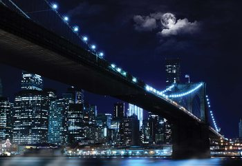 New York Brooklyn Bridge At Night Poster Mural XXL