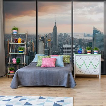 New York Skyline Window View Poster Mural XXL