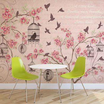 Oiseaux Cerisiers en Fleurs Roses Poster Mural XXL