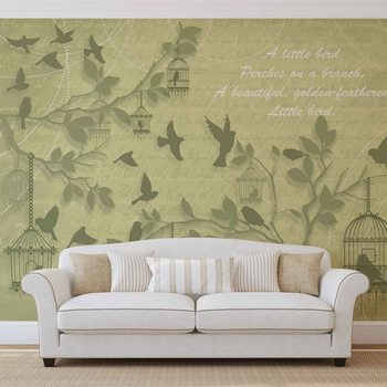 Oiseaux Verts Arbres Poster Mural XXL