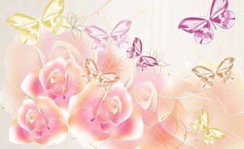 Papillons Fleurs Roses Poster Mural XXL