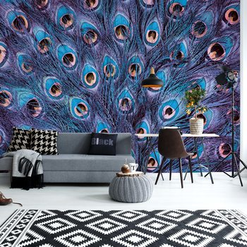 Peacock Feathers Blue And Purple Poster Mural XXL