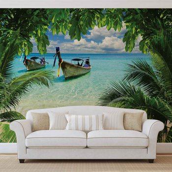 Plage paradis Tropical bateau Poster Mural XXL