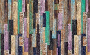 Planches en bois peintes Rustique Poster Mural XXL