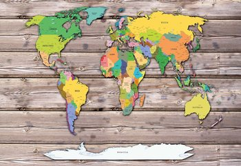 Political World Map On Wood Background Poster Mural XXL