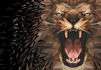 Polygon Lion Dark Colours Poster Mural XXL
