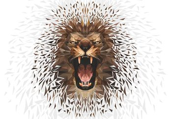 Polygon Lion Ligh Colours Poster Mural XXL