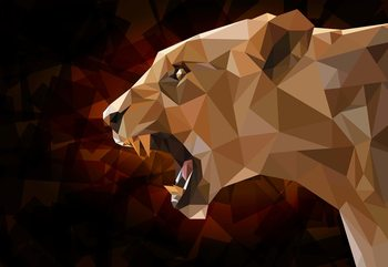 Polygon Lioness Dark Colours Poster Mural XXL