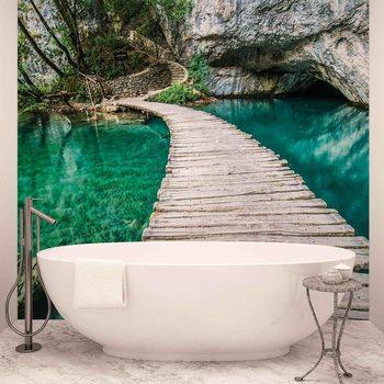 Pont en bois dans la lagune Poster Mural XXL