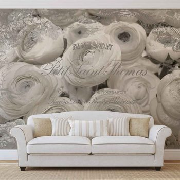 Roses Blanches Effet Vintage Poster Mural XXL