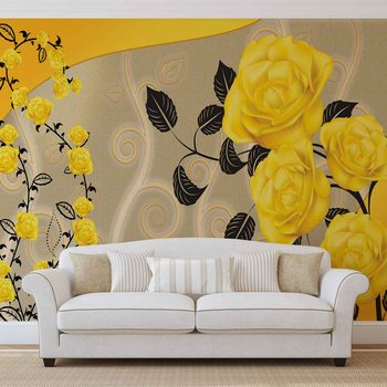 Roses Fleurs jaunes Abstrait Poster Mural XXL