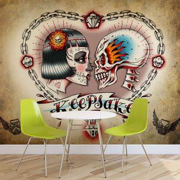 Tatouage au cœur du crâne Poster Mural XXL