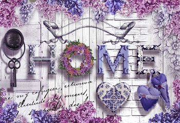 Vintage Chic Home Flowers And Wood Texture Poster Mural XXL