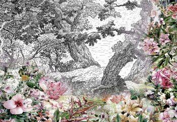 Vintage Floral Design Poster Mural XXL