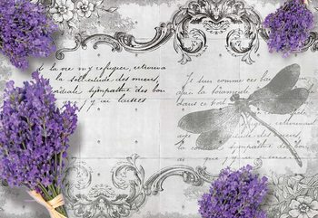 Vintage Lavender And Dragonfly Design Poster Mural XXL