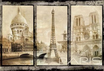 Vintage Paris Tryptich Poster Mural XXL