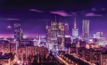 Voyage de nuit dans la ville de Varsovie Poster Mural XXL