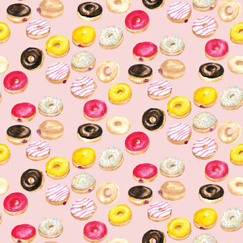 Watercolor donuts in pink Poster Mural XXL