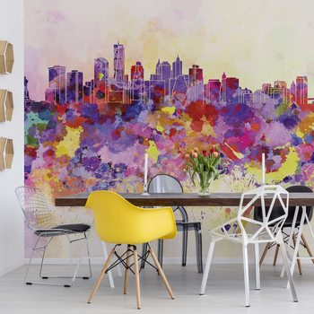 Watercolour City Skyline Poster Mural XXL