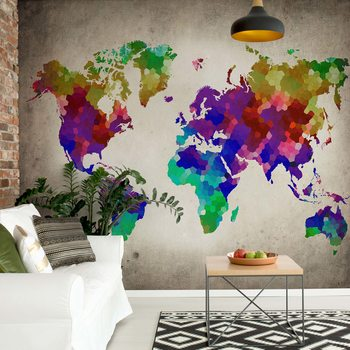 Watercolour World Map Poster Mural XXL