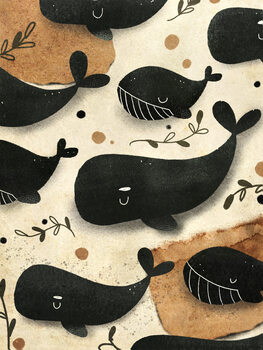 Whale Family Poster Mural XXL