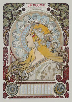 Poster Alfons Mucha - la plume