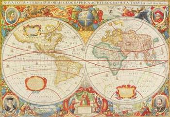 Antique Map Of The World Kunstdruck