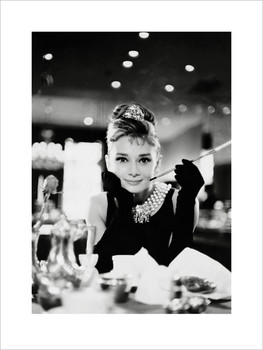 Audrey Hepburn - Tiffany b&w  Kunstdruck