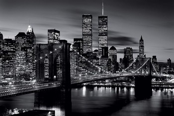 Poster Brooklyn bridge (Zwart Wit)