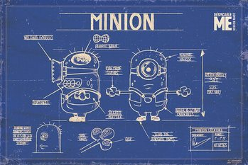 Poster Despicable Me (Dumma mej) - Minion Blue Print