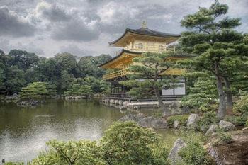 Poster Japan Kinkakuji - gyllene paviljongens tempel