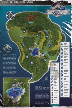 Poster Jurassic Park IV: Jurassic World - Aged Map