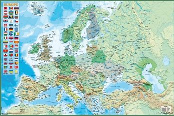 Плакат Map of Europe - Political and physical