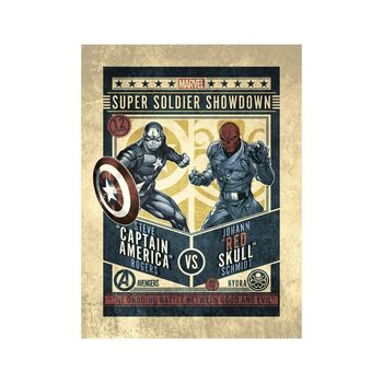 Konsttryck Marvel Comics - Captain America vs Red Skull