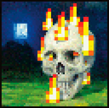 Poster Minecraft - flaming skull