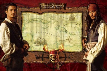 Poster PIRÁTI Z KARIBIKU - mapa