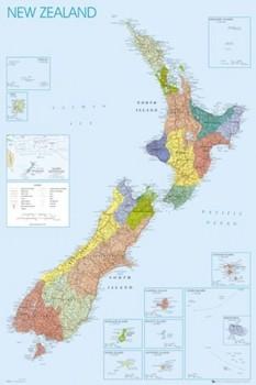 Poster Politisk karta över Nya Zeeland