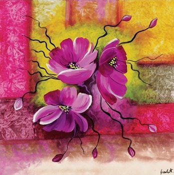Purple Dahlias Kunstdruck