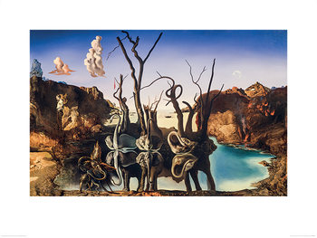 Konsttryck  Salvador Dali - Swans Reflecting Elephants