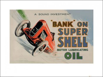 Poster Shell - Bank on Shell - Racing Car, 1936