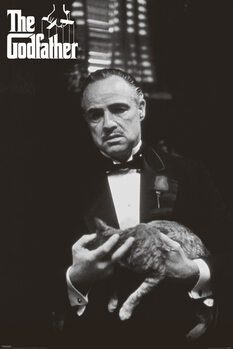 Poster The Godfather - cat (Zwart Wit)