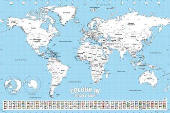 Poster Världskarta - Colour In