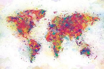Poster Världskarta - Färgstänk